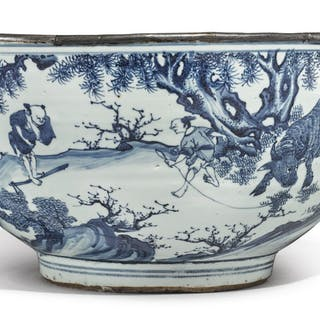 A LARGE BLUE AND WHITE 'FIGURAL' BOWL MING DYNASTY, TIANQI / CHONGZHEN PERIOD
