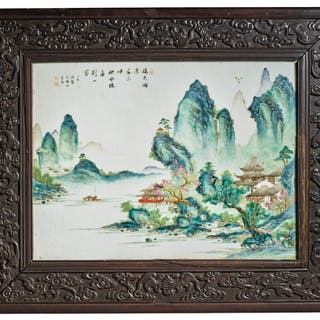 AN EXCEPTIONAL AND RARE FAMILLE-ROSE 'LANDSCAPE' PANEL, BY TANG YING