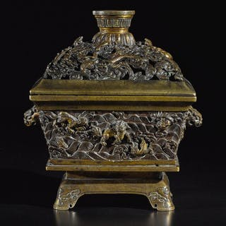 A BRONZE CENSER AND COVER 17TH CENTURY