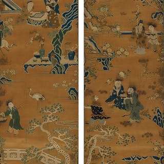 A PAIR OF EMBROIDERED SILK 'LONGEVITY' PANELS QING DYNASTY, 18TH / 19TH CENTURY