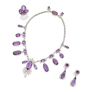 SUITE OF AMETHYST AND DIAMOND JEWELS
