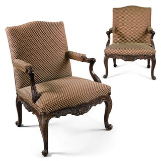 A Pair of George II Mahogany Library Armchairs, circa 1750
