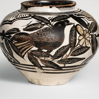 A RARE FINELY PAINTED AND INCISED 'CIZHOU' 'BIRDS' JAR JIN / YUAN DYNASTY