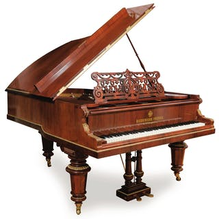 A MAHOGANY, ROSEWOOD AND EBONY BOUDOIR GRAND PIANO BY DIEDERICHS FRERES