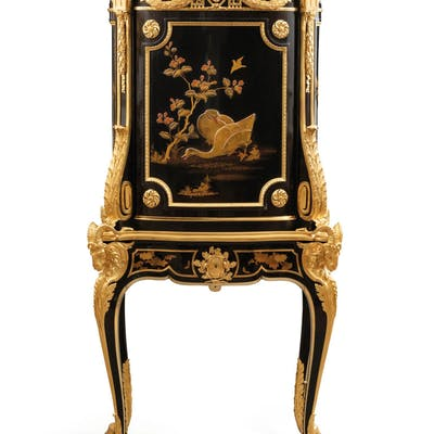 ALFRED BEURDELEY (1847 - 1919)A FRENCH GILT-BRONZE MOUNTED EBONY AND
