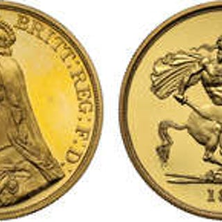 Victoria (1837-1901) gold proof Five-Pounds 1887 Jubilee head PF63 ULTRA CAMEO.