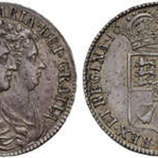 William and Mary (1688-94) silver Halfcrown 1689 first conjoined busts.