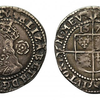 Elizabeth I silver Threepence, 1579, mm Greek cross rare die combination