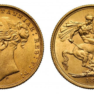 Victoria 1877 M Sovereign, WW complete, St George reverse, long tail