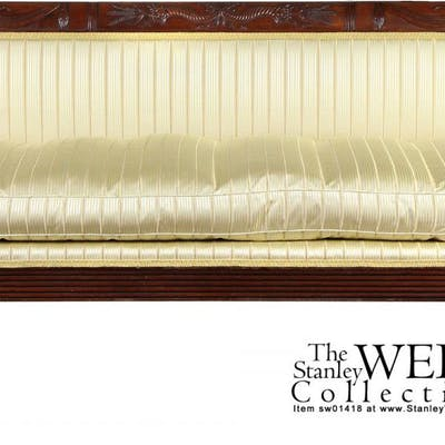 A Carved Mahogany Classical Sofa with Curule legs, Phyfe workshop, c.1810