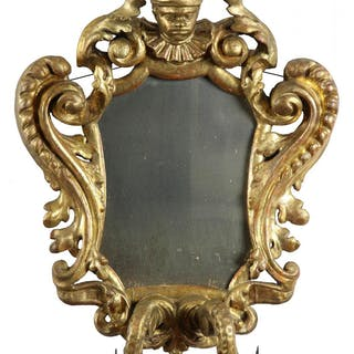 A Carved Rococo Gilt Mirror with Jester, Continental, 17th / 18th century