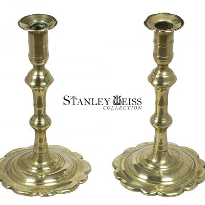 A Pair of English Brass Candlesticks, c.1750-60