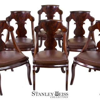 A Magnificent Set of Six Classical Stylized Gondola Dining / Side