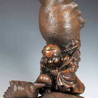 LARGE JAPANESE WOODEN OKIMONO OF ONI CARRYING A HUGE CONCH SHELL
