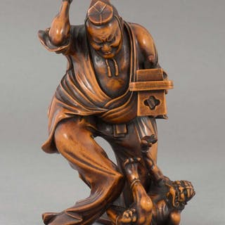 SUPERBLY CARVED JAPANESE BOXWOOD OKIMONO DEPICTING SETSUBUN FESTIVAL