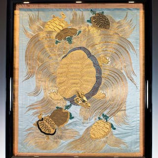 SUPERIOR QUALITY EDO PERIOD JAPANESE GOLD THREAD SILK FUKUSA – MINOGAME