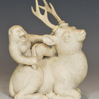 FASCINATING JAPANESE IVORY OKIMONO MONKEY UPON A STAG