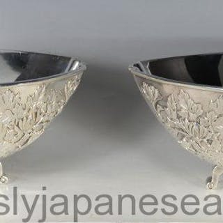 HEAVY QUALITY PAIR OF JAPANESE SILVER FRUIT BOWLS/DISHES -EIGYOKU