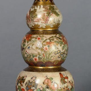 UNUSUAL TRIPLE GOURD JAPANESE SATSUMA VASE BY MEIZAN