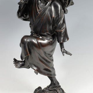 "FASCINATING JAPANESE BRONZE OKIMONO ""TOAD CATCHER"" BY MARUKI COMPANY"