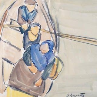 """Maurice LE SCOUÉZEC (1881-1940) """"Pêcheurs dans une barque"""""""