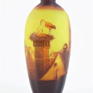DARGENTAL : Vase en verre soufflé gravé à l'acide