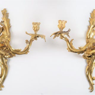 Paire d'appliques de style Louis XV en bronze doré