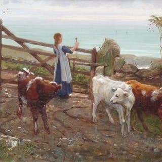 Frank E Cox (fl.1870-1894) - Girl with Calves on the Coast