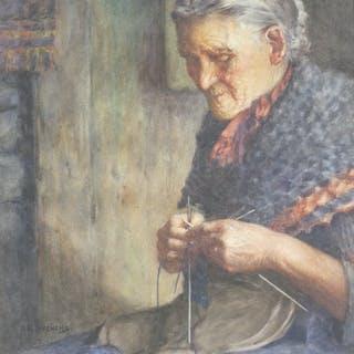 Albert George Stevens (1863-1927) - Old Woman Knitting