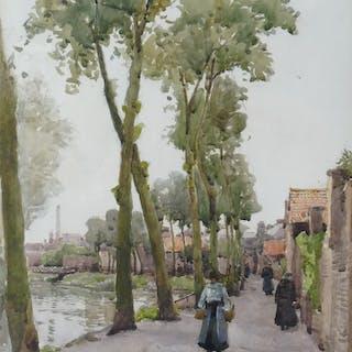 Miss Margaret Bernard (Fl. 1883-24) - Figures by a Continental Canal