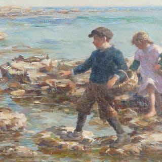 William Marshall Brown (1863-1936) - Gathering Shellfish