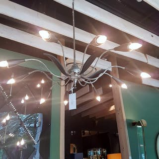 A 1950s Black and Nickel Chandelier