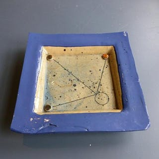 A Blue Square Ceramic Plate by Catriona Mcleod