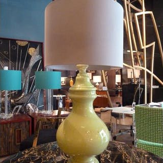 A Large Lime Green Ceramic Table Lamp 1960s