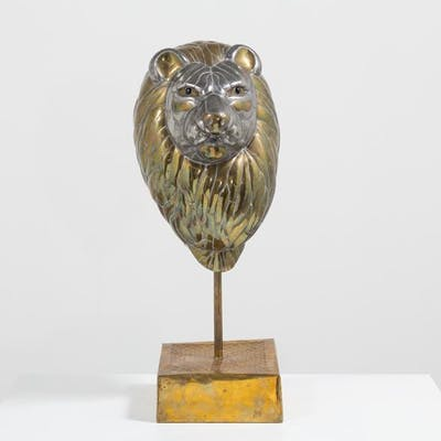 A Large Sergio Bustamante Bust of a Lion signed and editioned
