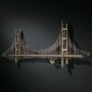 A Metal Wall Sculpture Scene of The Golden Gate