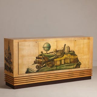 A Painted and Lacquered Goatskin Music Cabinet by Aldo Tura 1950s
