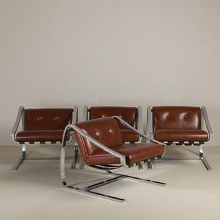 A Pair of Cantilevered Steel and Leather Chairs 1980s