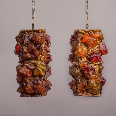 A Pair of Chunky Amber Resin Pendant Lights 1960s