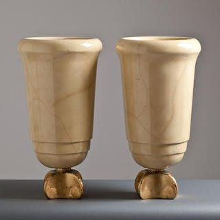 A Pair of Simulated Goatskin Lacquered Urns 1940s