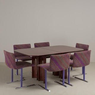 Giovanni Offredi designed Extendable Dining Table Italy 1980s