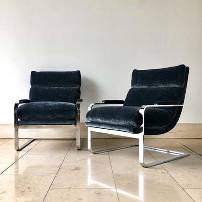 Pair of Milo Baughman designed Cantilevered Armchairs 1975