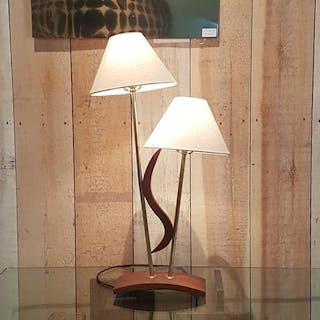 Single Teak Double Shaded Lamp 1950s