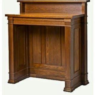 original c. 1906 frank l. smith bank varnished oak wood interior standing desk