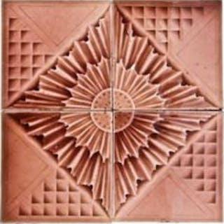 unique c. 1880's decorative majolica fireplace four tile assembly