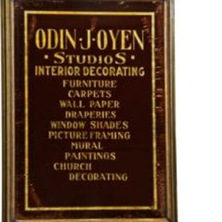 very rare c. 1920's reverse-painted glass odin j. oyen advertising
