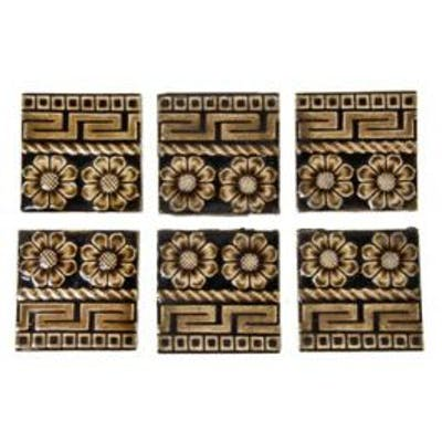 set of six antique american late 19th century bistre brown majolica