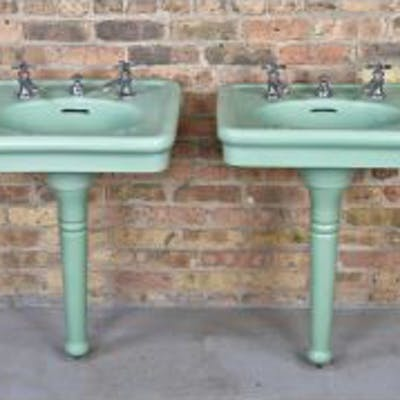 matching set of late 1920's american art deco green vitreous china