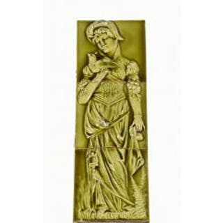 very unique late 19th century olive green majolica glazed victorian