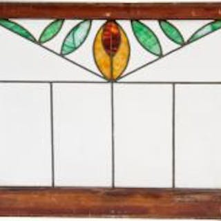 c. 1920's uniquely designed american craftsman style leaded art glass